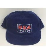 VTG 1990s Blue Red Corduroy USA Sports Snapback Trucker Hat & Rope DG Sp... - $19.59