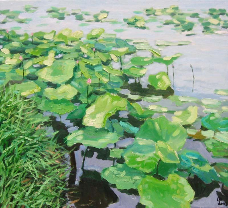 Lotus pond  90 x 100