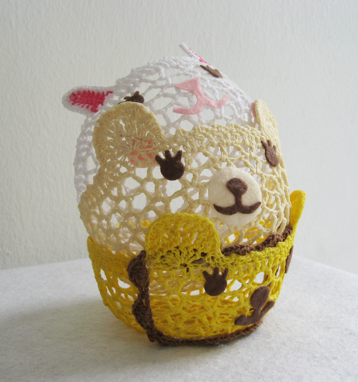 Handmade Smiling Animals Crochet Lace Baskets. Set Of Three.