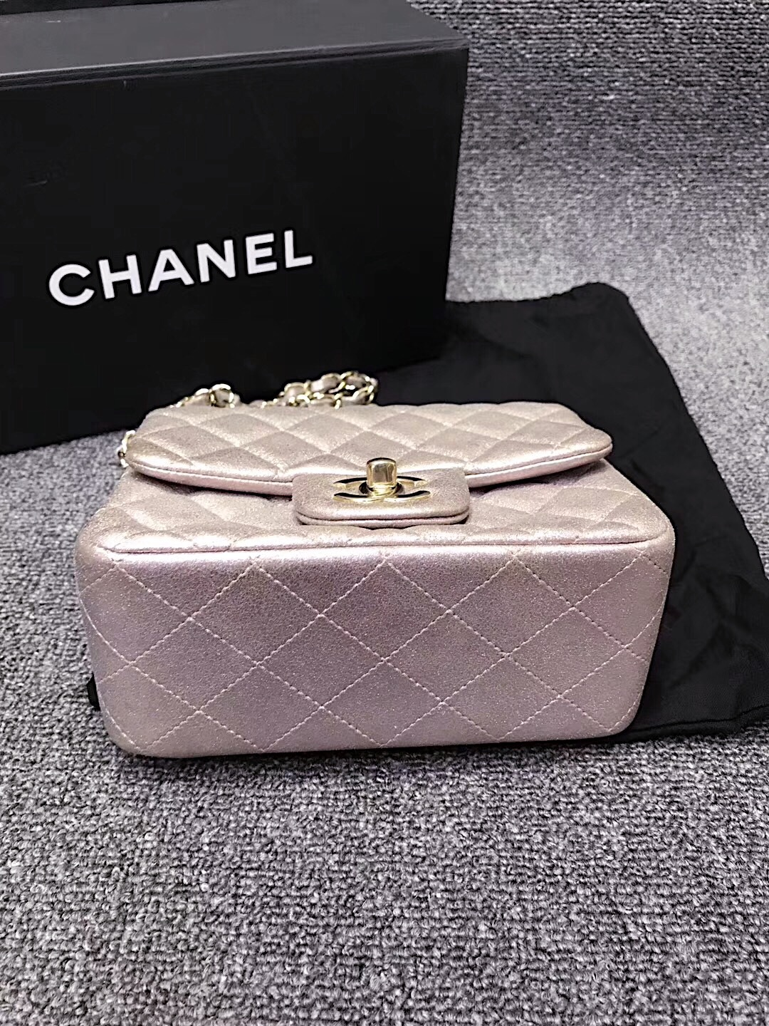 Authentic Chanel Iridescent Pink Quilted Leather Square Mini Flap Bag GHW