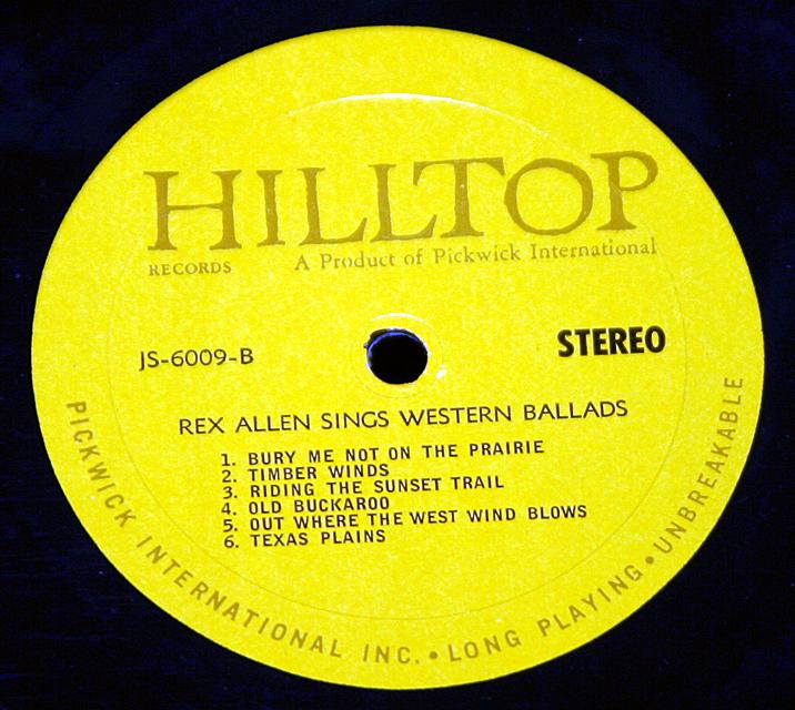 "Rex Allen ""Sings Western Ballads""   LP"