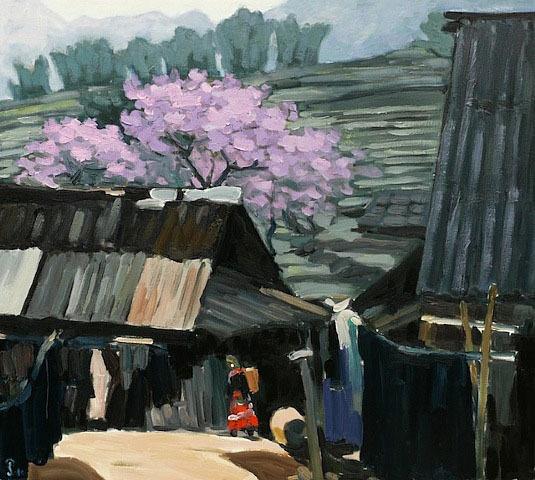 Sapa, 24x36 Vietnamese actual original oil painting