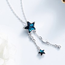 Cdyle Embellished with crystals from Swarovski Women Necklace Pendant Blue Star  image 5