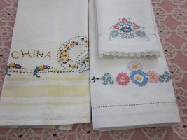 3 pc lot vintage daisy embroidered white hand kitchen towels 17x26 14x20... - $5.99