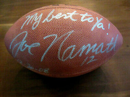 JOE NAMATH 1969 SBC JETS HOF STAT SIGNED AUTO VTG WILSON DUKE FOOTBALL B... - $395.99
