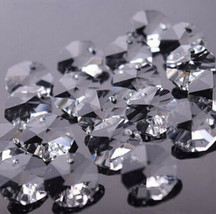50pcs 12mm 1 Hole Crystal Octagon Beads Lamp Lighting Parts Chardelier P... - $8.59