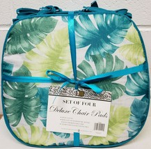 """Set of 4 CHAIR PADS CUSHIONS w/blue ties,15x15"""", GREEN & BLUE PALM LEAVE... - $23.75"""