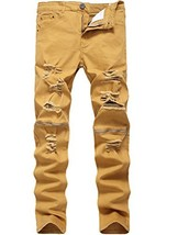 Lavnis Men's Slim Fit Destroyed Jeans with Holes Pencil Pants Slim Zipper Jeans  - $28.54
