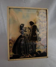 Vintage COURTING COUPLE Reverse Painted Convex Glass Small Wall Hanging ... - $19.50