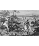 SOUTH AMERICA Prairies Horses  Lasso Hunt - 1860s Antique Print Engraving - $26.01