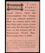 Piso Consumption Catarrh Croup Cure Remedy AD 1893 - $14.99