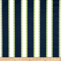 NAVY STRIPE TABLE Linens - Navy Blue, on White with Lime chartreuse Dots... - $12.50