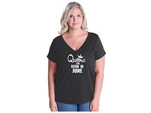 Primary image for Women's Queens are Born in June Plus Size V-Neck T Shirt 26-28 Smoke