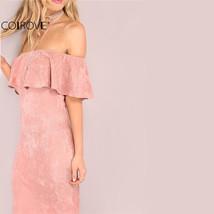 Woman Valentine dresses-Elegant Dresses-Backless Midi  Off Shoulder Ruff... - $53.33