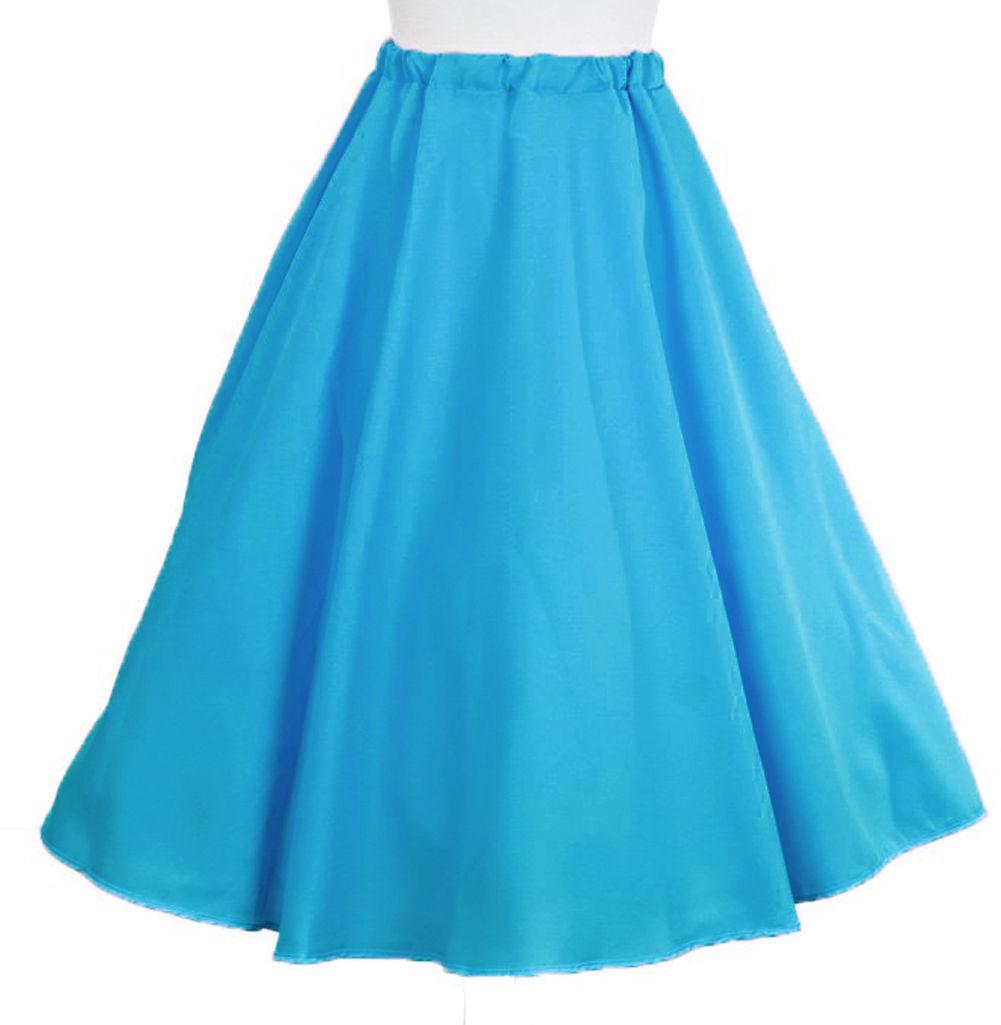 Turquoise Blue Circle Skirt & Sheer Scarf Set - 50s Sock Hop Retro Swing Dance