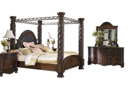 Ashley North Shore 5PC Bedroom Set Cal king Poster Canopy - Brown - $5,100.19