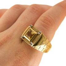 Vintage 9ct Mens Ring Citrine and Diamonds Uk size T BHS - $707.70