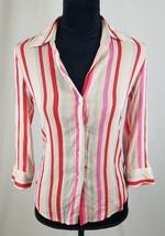 Theory women S pink silk button down long sleeve striped blouse shirt se... - $25.69