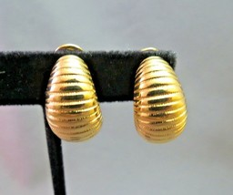 Monet Comfort Clip On Earrings Gold Plated Textured Ribbed Shrimp Half H... - $15.83