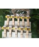 yellow bee picture pegs,wooden pegs,Wooden Clips,Pin Clothespins,wood Cl... - $3.20+