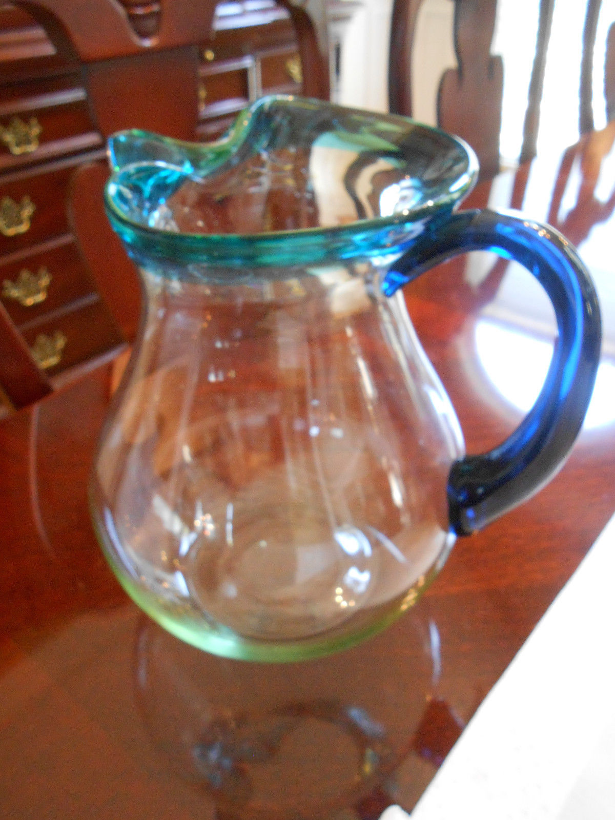 Home Essentials Hand Made Tea Juice Pitcher Aqua Teal Rim W/ Cobalt Blue Handle