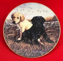 Larry Chandler Puppy Portrait Collector Plate, Ebony & Ivory Lab Pup, Lenox - $29.97