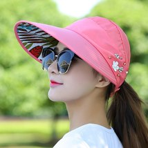 Floral Sun Hats for Women Summer Wide Large Brim Floppy Beach Folding Sun Protec image 6