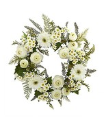 """Nearly Natural Mixed Daisies and Ranunculus Wreath, 24"""" - $67.88"""