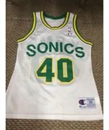 Seattle SuperSonics Sonics Shawn Kemp White Champion Jersey 36 Good Cond... - $89.09