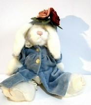 Boyds Bears Vanessa D Lapinne White Rabbit Blue Velvet Coat & Hat Pink Flowers - $11.88