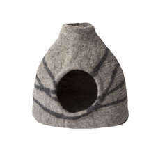 Dharma Dog Karma Cat Handcrafted 100% Wool Felted Striped Grey Vase Cat ... - $89.99