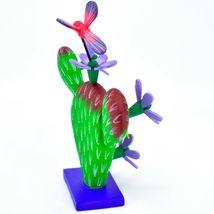 Handmade Alebrijes Oaxacan Painted Wood Folk Art Flowering Prickly Pear Cactus image 5
