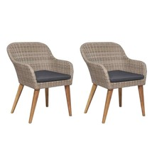 vidaXL 2x Outdoor Chairs with Cushions Poly Rattan Brown Garden Dining C... - $150.99