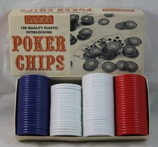 BARON Vintage Poker Chips 100 Pack Boxed - Red / White / Blue 96 Chips  ... - $5.93