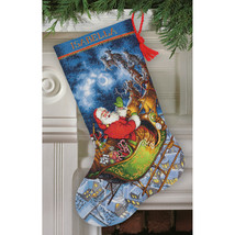"""Dimensions Gold Collection Counted Cross Stitch Kit 16"""" Long-Santa's Flight Stoc - $43.65"""