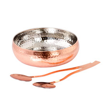 Copper Hammered Stainless Steel Salad Bowl With Serving Spoon Set - $19.30