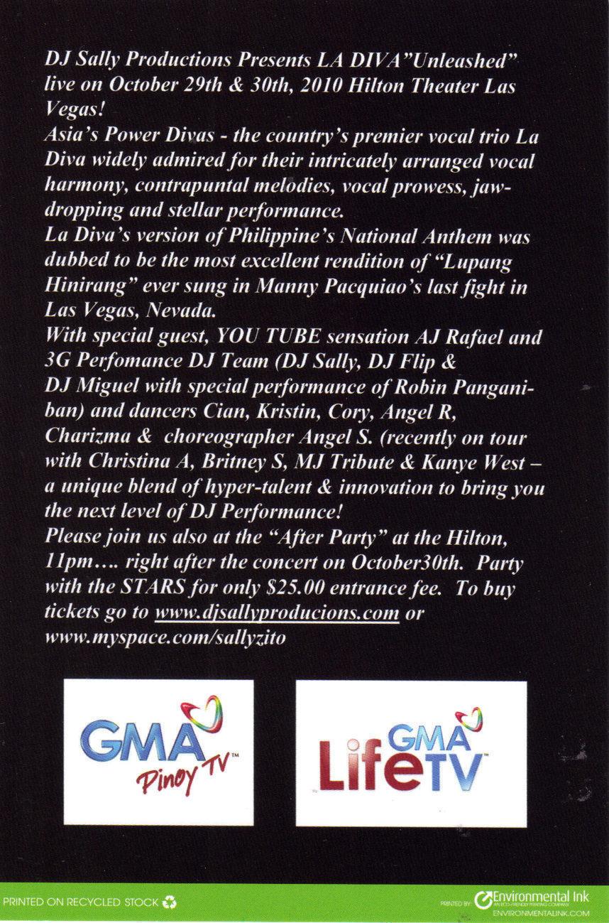 "Philippine's LA DIVA ""Unleashed"" @ HILTON Vegas Promo Card"