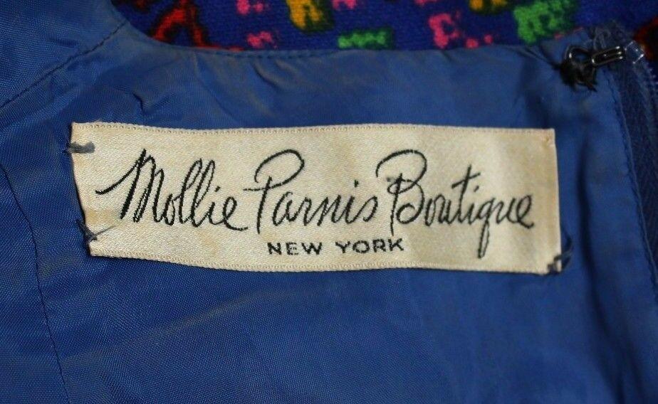 Vintage 15.2ms 18.3ms Mollie Parnis Boutique Pixel Arcobaleno Abito a Fiori