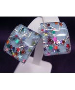 Vintage Confetti Lucite Earrings  - $18.50