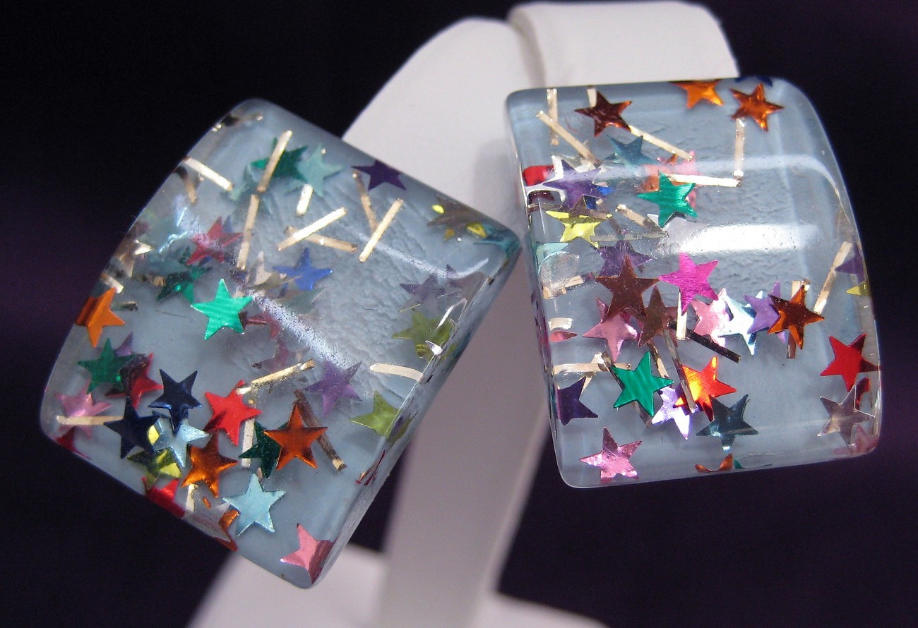 Vintage Confetti Lucite Earrings