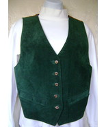 Vest, Misses Medium, Dark Green Suede  w/Paisle... - $45.00
