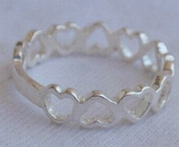 Open hearts silver ring
