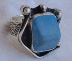 Turquoise pressed silver ring F - $45.00