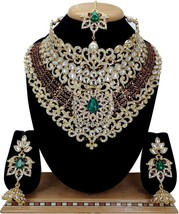 Indian Fashion Golden Pearl Kundan Bridal Bollywood Jewelry Necklace Ear... - $25.23