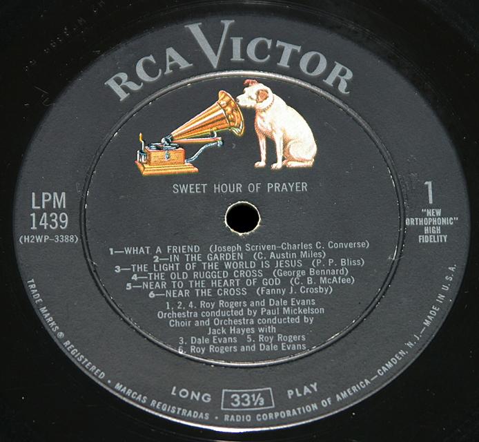 """Roy Rogers & Dale Evans """"Sweet Hour Of Prayer""""   LP"""