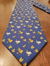 Nwt Brooks Brothers Neck Tie Pure Silk Blue With Rabbits Golden Leaves Acorns - $39.99