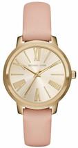 NEW Michael Kors Women's Hartman Gold-tone Blush Leather Strap Watch MK2558 - $126.95