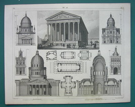 ARCHITECTURE PRINT 1844 - PARIS St. Magdalene Church Potsdam Palermo Rom... - $12.15