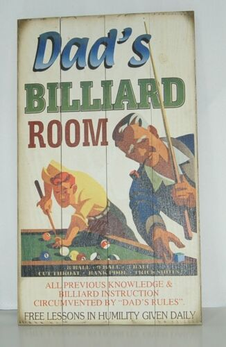 Dads Billiard Room Wooden Sign 14 by 24 Inches Vintage Look