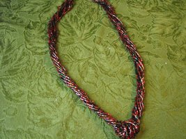Vintage Necklace Red, Green, Orange Glass Tube Seed Bead Knot Multistrand Twist image 4